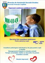 Consiliere psihologică şi sprijin pentru părinţi şi copii - Telefonul verde, în zilele lucrătoare