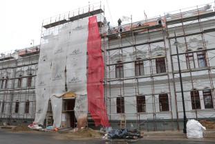 Lucrări finalizate în proporție de 80% la clădirea Filarmonicii - Şase luni de la montarea schelelor