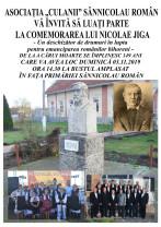 Duminică, 3 noiembrie, la Sânnicolau Român - Comemorarea lui Nicolae Jiga și lansare de CD