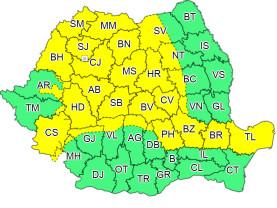 Cod galben de vânt puternic în 29 de județe, inclusiv Bihor